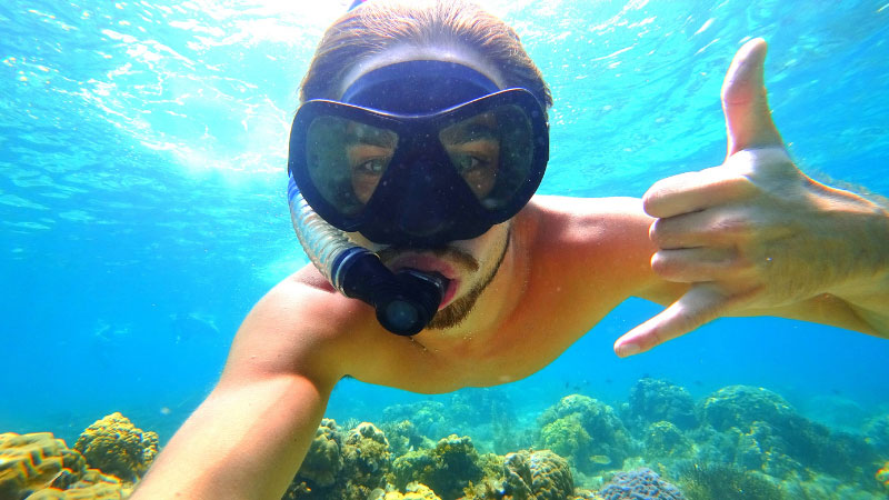Man Snorkelling in the Philippines